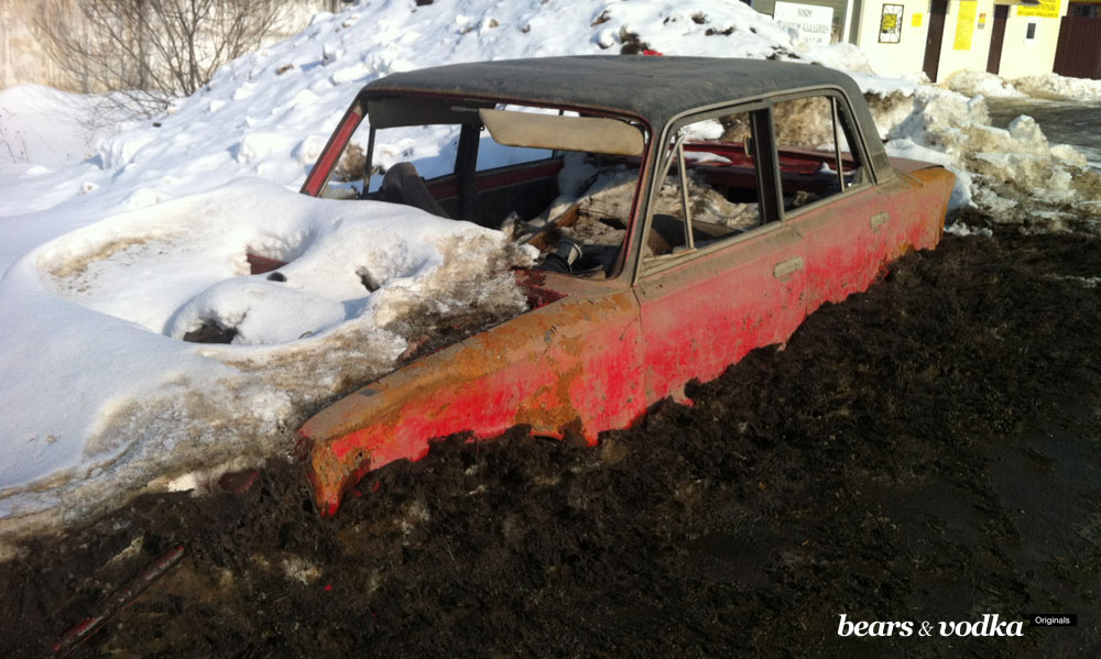 Stripped-down and snowed-under VAZ-2101. $2,000.