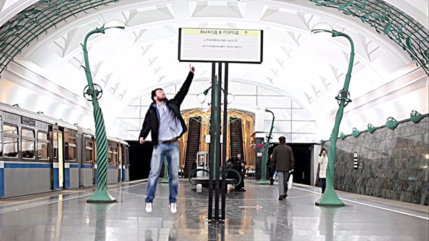 Cody White jumping up in Moscow metro