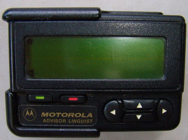 <h2>Pager</h2>  The ubiquitous 1990s device, which came before Twitter for iPhone, Twitter full stop, and even all-embracing SMS. It was a wee little box that could receive text messages, and not much else. Ok, ok, it also made funny beeping noises. To send a page, you rang up the number of operator company, said the number of the subscriber you wanted to page and passed on your message, which was transcribed and sent off to the recipient. I wonder if such a cumbersome mechanism saved anyone from those awkward morning moments when you realize you drank-and-texted/tweeted the night before...