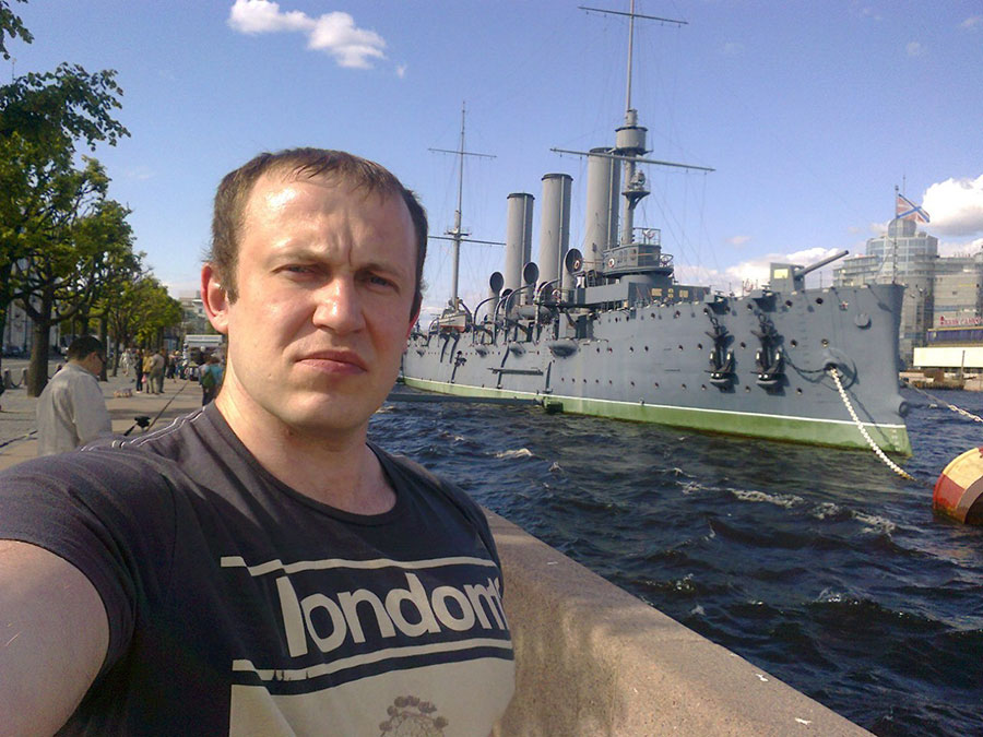 In Saint Petersburg, near the Aurora cruiser.