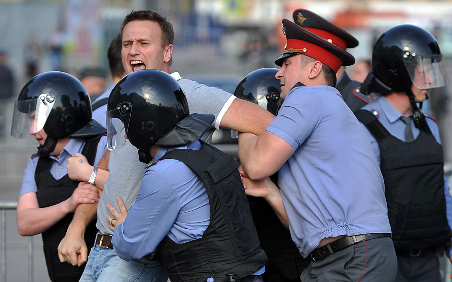 Alexey Navalny detained during the rally. By Vladimir Ostalkovich, RIA Novosti