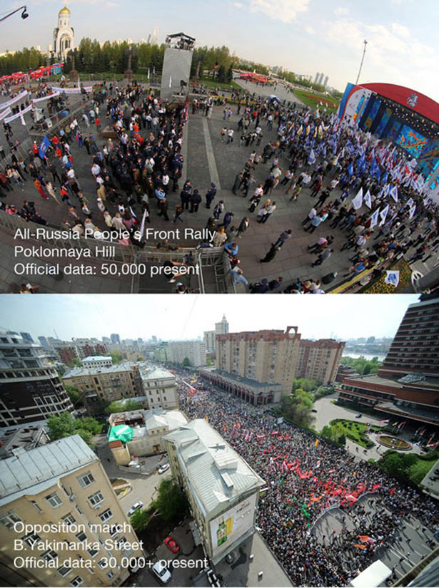 Rallies supporting Putin (top) and the opposition (bottom)