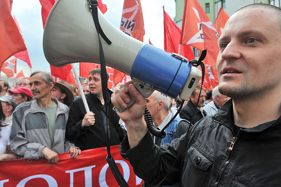 Opposition activist Sergey Udaltsov during the rally. By Alexander Utkin, RIA Novosti