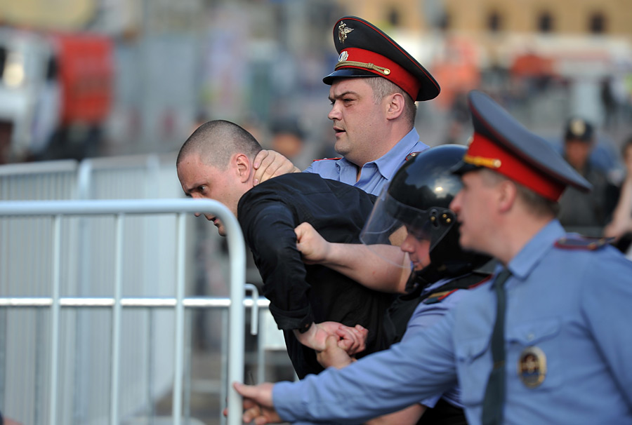 Udaltsov detained during the rally. By Vladimir Ostalkovich, RIA Novosti